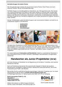 Stellenausschreibung Berufe am Bau